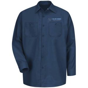 Navy- long sleeve industrial work shirt